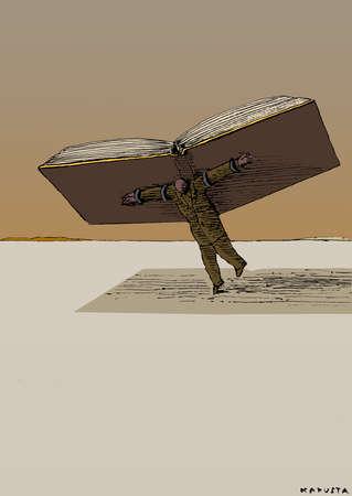 Man using open book as wings