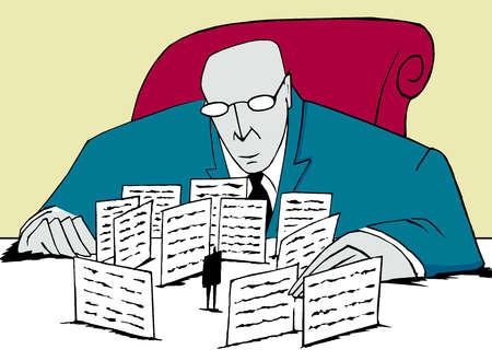 Bureaucrat impeding a man with paperwork