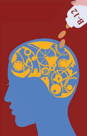 Brain as a series of cogs and gears being fed B-12 vitamins