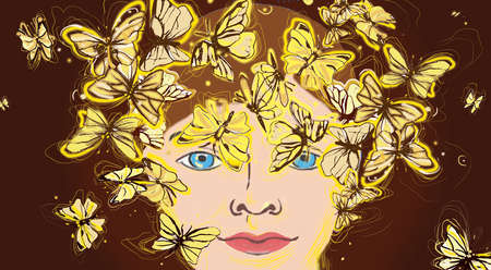 Face surrounded with butterflies