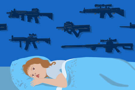 Young girl in bed with guns and rifles overhead