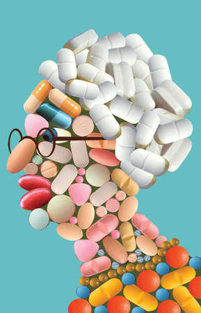 Profile of a senior citizen made out of pills and various medications