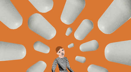 Person overwhelmed with giant pills