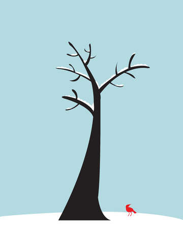 Bare tree with red bird on the snowy ground