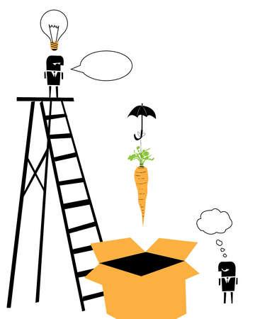 Two men, a carrot, a ladder, an umbrella, a light bulb and a box