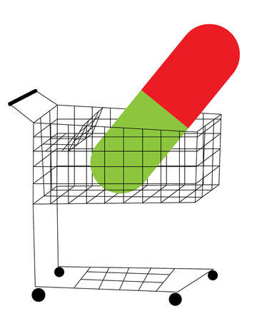Giant Medicinal Capsule in a shopping cart