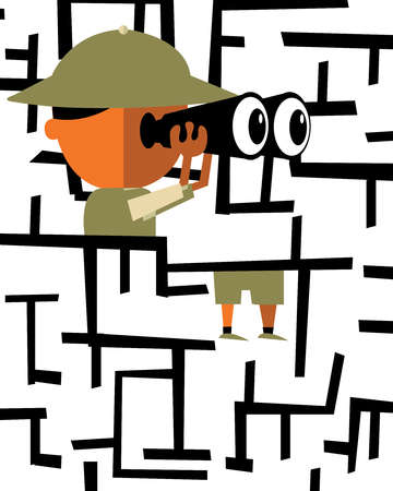 Explorer in maze looking through binoculars