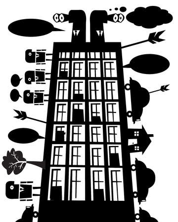 Office building with montage of co-workers and modes of transportation, arrows and trees