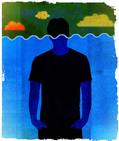 Man with head above water