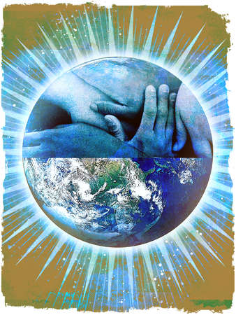 Montage of earth and caressing hands