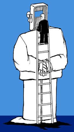 man on ladder behind person speaking