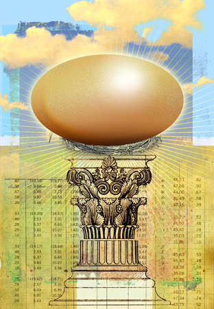 Golden egg atop of a pedestal in front of stock tables