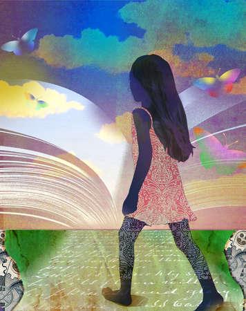 Young girl on road walking toward rainbow