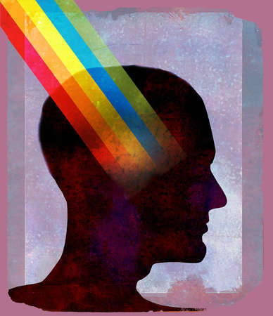 Profile in silhouette with rainbow