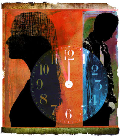 Couple in silhouette separated by a clock set to midnight