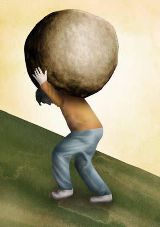 Man carrying boulder uphill