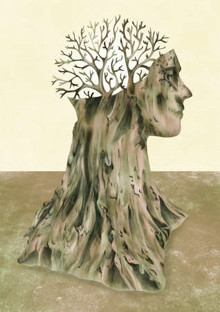 man in the shape of a tree with branches for a brain