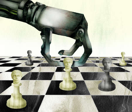 Robotic arm moving chess pieces on board