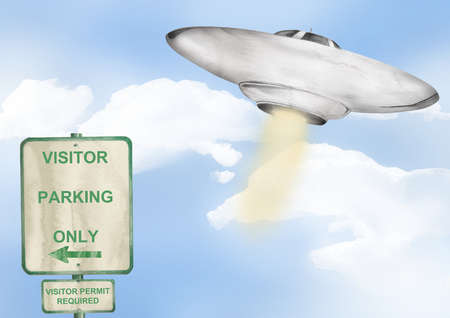 Flying saucer and visitor parking sign