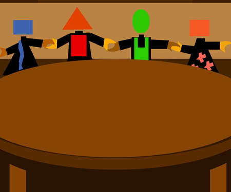 People with different shaped heads holding hands around a table