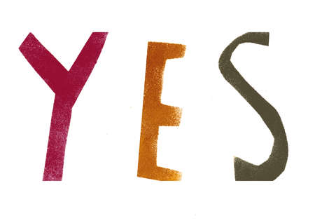 The word YES in different colors