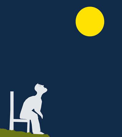 Man on chair staring at Full Moon