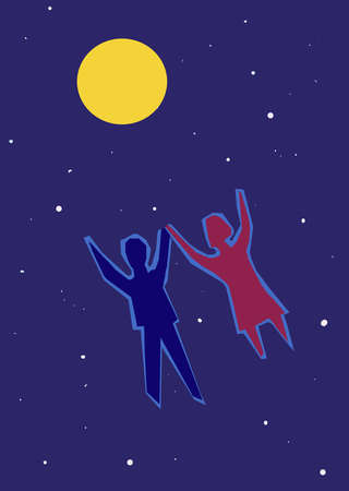 Man and woman floating toward moon