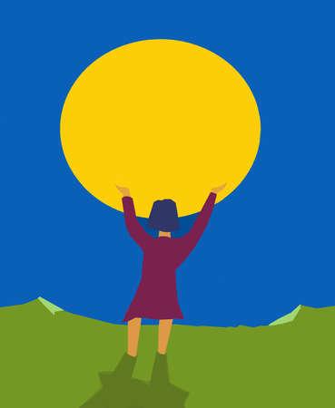Woman Gazing at Moon