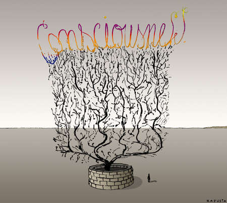 Man standing next to tree with many branches forming the word consciousnesses