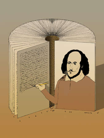 Shakespeare on a book fanning out to become a theater
