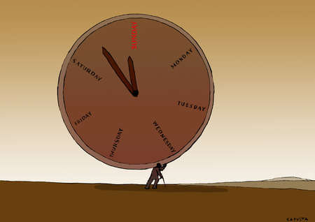 Person carrying a large, heavy clock