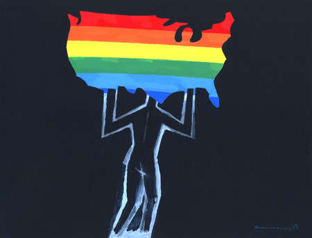 Man holding up outline of the United States in the colors of the rainbow