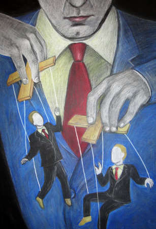 Man controlling businessmen on puppet strings