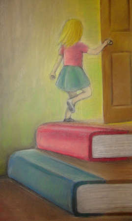 Girl reaching door by climbing on a stack of books