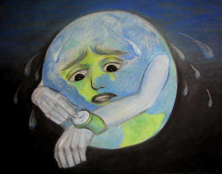 Planet earth sweating and looking at its watch