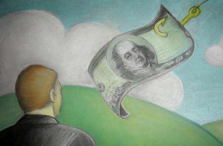 Man watching dollar on a fishhook