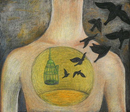 birds flying out of cage in person's chest