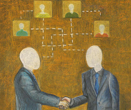 Two businessmen shaking hands with organization chart above