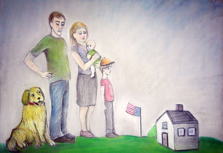 Family in front of miniature home