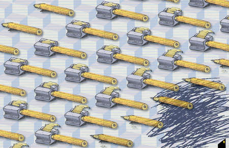 An army of pencils and pencil sharpeners