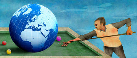 Man playing pool with earth as a billiard ball