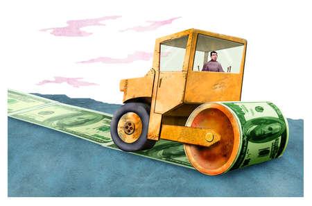Steamroller laying down money