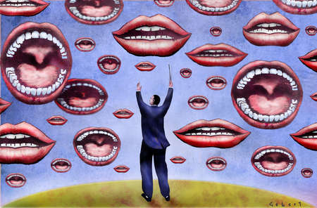 Businessman conducting open mouths