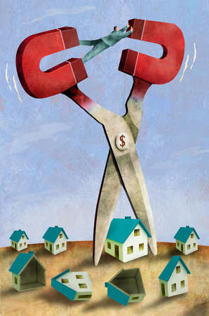 Man preventing a giant scissor from cutting a house in half