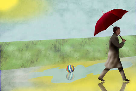 Man with umbrella waling past a puddle and rubber ball