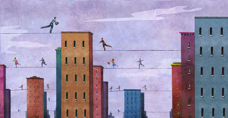 Businesspeople on high wires going from building to building