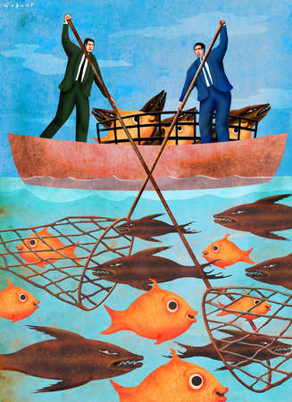 Two businessmen in a boat catching fish with a net