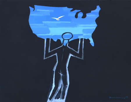 Man holding up a map of the United States drawn with blue skies and a dove.