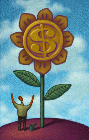 Man watering flower with a dollar sign in the center