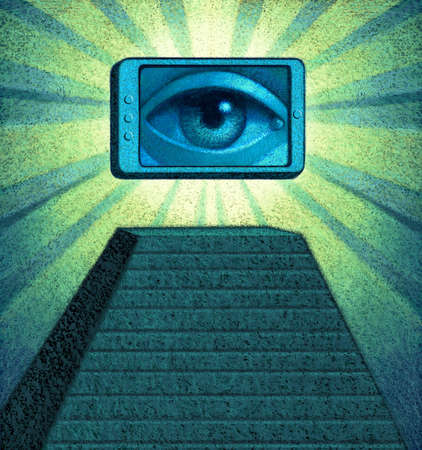 Eye looking out of smartphone on top of pyramid with rays of light